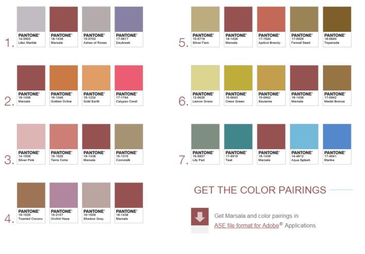 Pantone Color of the Year 2015  Marsala Pairings